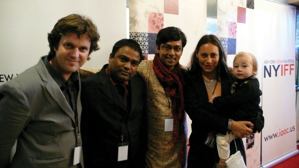 The Bengali-Hollywood delegation, from left to right: Director Phil Cox, Rajesh Ji, Assistant Director Sounak Chakravarty, Producer Giovanna Stopponi and Romeo Cox.